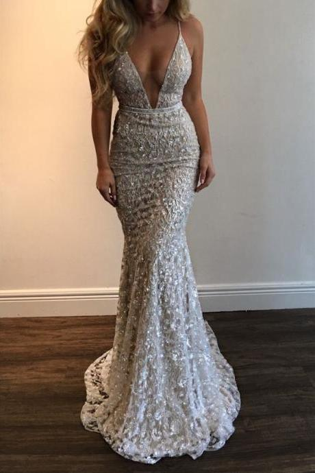 2018 Unbelevable Shining Prom Dress,Full Beading Evening Gowns,Spaghetti Straps V-Neck Sexy Party Dress,Sleeveless Mermaid Prom Gown
