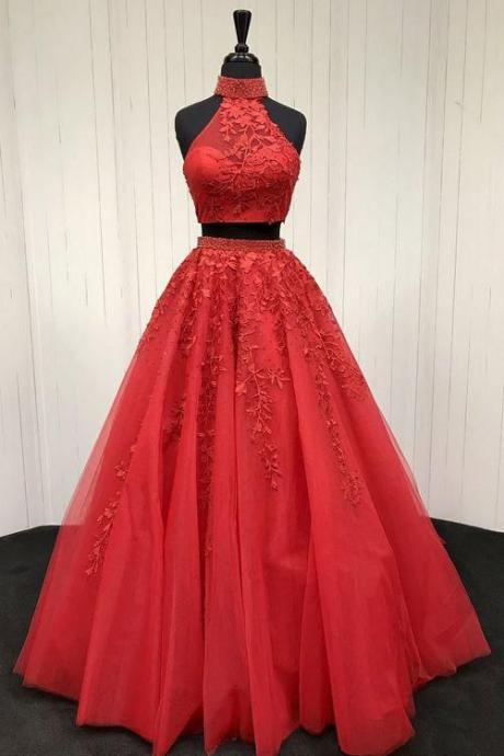 Red two pieces prom dress,tulle lace applique evening dress,long prom dress, red evening dress,appliques party dress,beaded evening dress