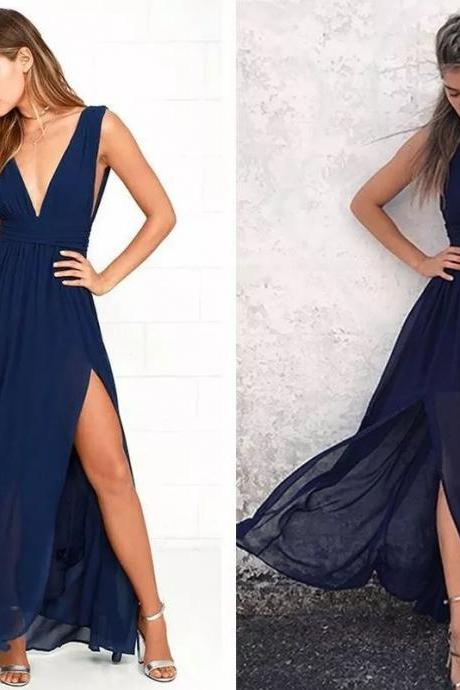 A-Line Halter Prom Dresses,Floor-Length Prom Dress,Backless V-Neck Evening Dress,Navy-Blue Prom Gown,Chiffon Formal Dress,Prom Dresses