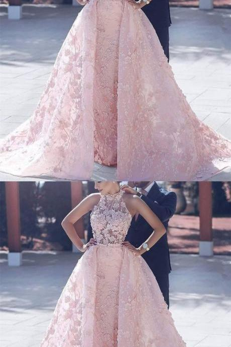 Cathedral Train Prom Gown, Pink Cathedral Train Evening Dresses, Cathedral Train Long Evening Dresses, Luxury Wedding Dresses Halter Appliques Organza Prom Dress/Evening Dress