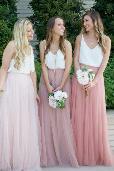 Pink&White Chiffon Bridesmaid Dress,Floor Length Bridesmaid Dress,All color+All size,Customed High Quality Dress