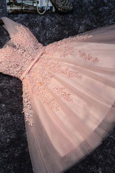 Cute Pink Lace Homecoming Dress,Appliques Beads Short Dress,Mini Tulle Graduation Dress,Prom Dress