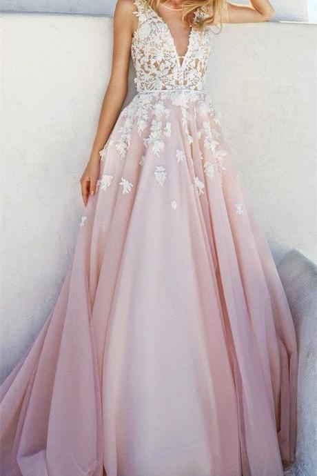Princess Wedding Dresses, Pink Wedding Dreses, Ball Gown Wedding Dress, Long Wedding Dress/Prom Dress with Appliques, V-neck Wedding Gown, Wedding Dress