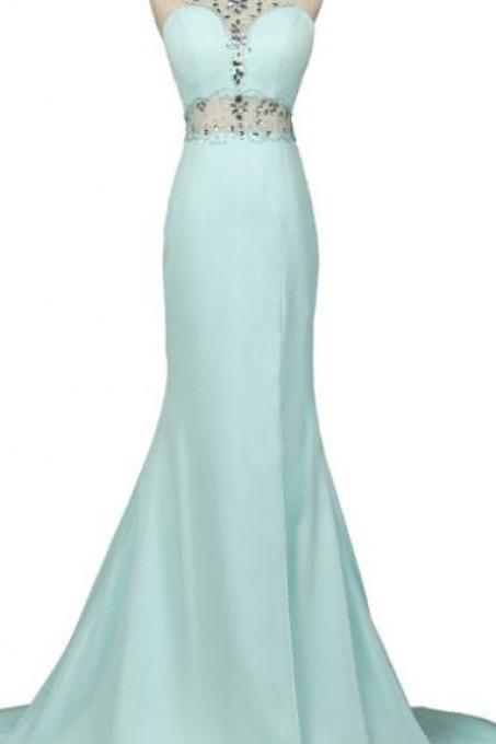 Charming Mint Green Prom Dress,Mermaid Elegant Beaded Evening Dress,Beads Sleeveless Party Dress