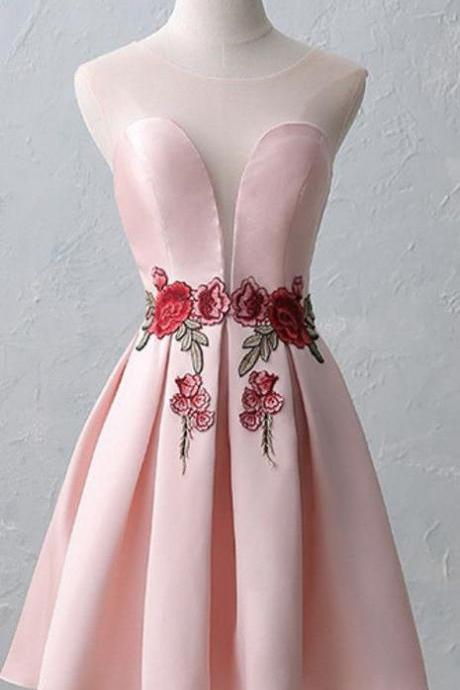A-line/Princess Short Homecoming Dresses, Chic Sexy Flowers Homecoming Dress Scoop Satin Appliques Short Prom Dress Party Dress