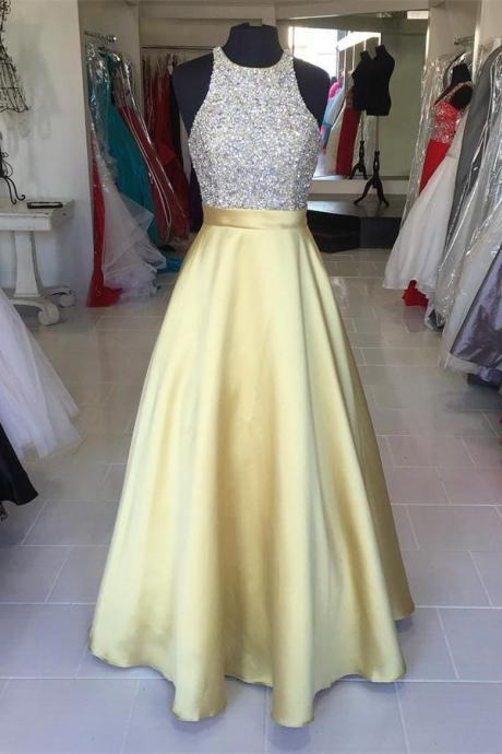 Charming Yellow Beaded Prom Dress,Sleeveless A-Line Party Dress,Halter Evening Dress