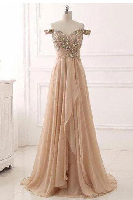 Chic A-line Prom Dresses Long Off-the-shoulder V-Neck Prom Dress Evening Dresses With Beading