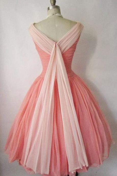Cheap Coral A-line/Princess Prom Party Dresses Popular Short Bateau Homecoming Dresses With Pleated Backless Dresses