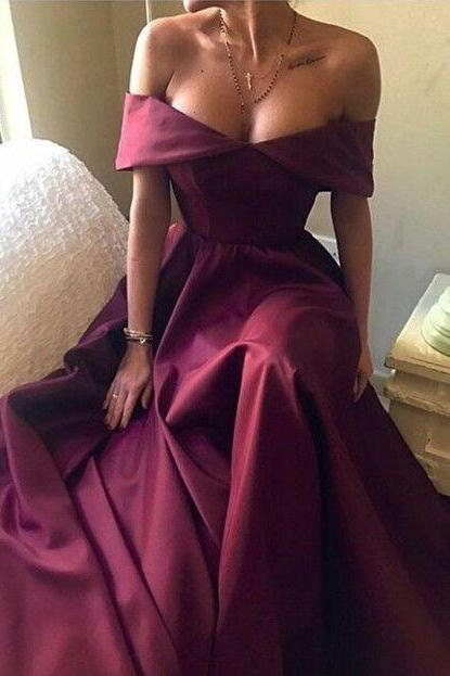 Sexy Off The Shoulder Burgundy A-Line Prom Dress,Dark Red Sleeveless Evening Gown