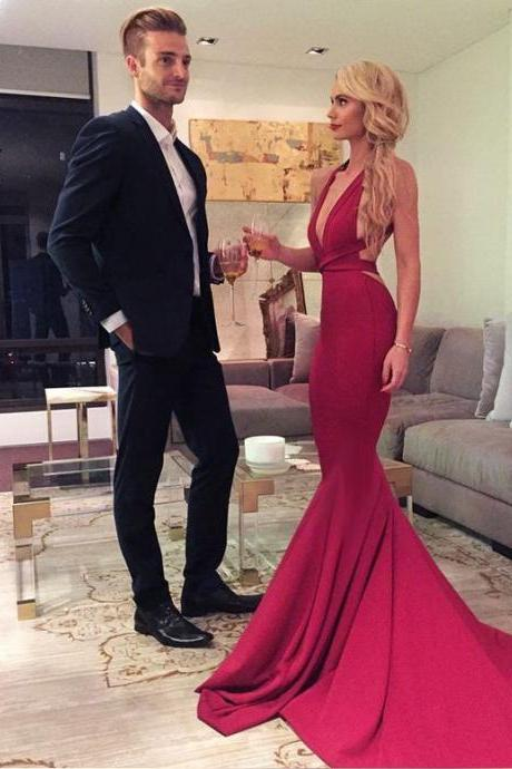 Sexy Mermaid V-Neck Prom Dresses,Long Prom Dresses,Red Backless Prom Dresses,Sleeveless Formal Women Dress