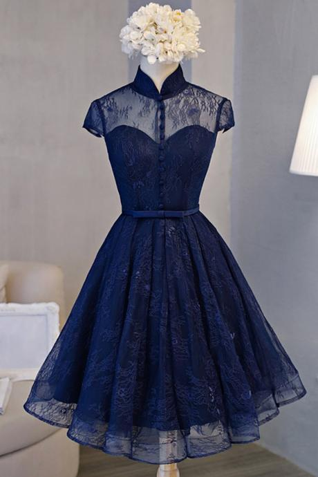 Charming Navy Blue A-Line Lace Cap Sleeves Homecoming Dress,Stand Collar Backhole Sexy Short Graduation Gown