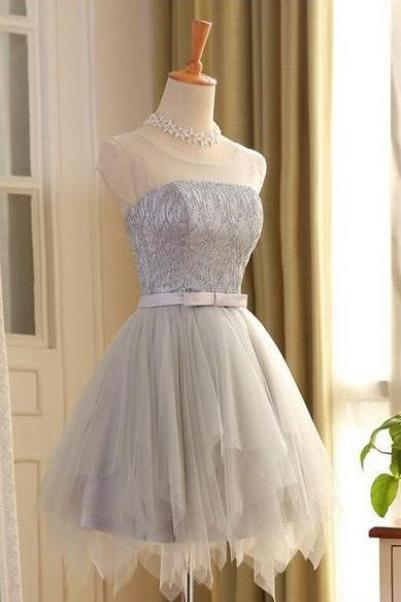 Cute Special Silver Homecoming Dress,Beaded Sleeveless Evening Dress,Mini Tulle Lace Up Graduation Gown