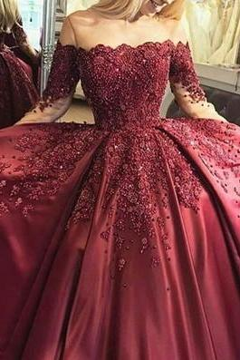 strapless Charming Mermaid park red Prom Dress,beading Party Dress,Sweep high slit Train Evening Gown dress