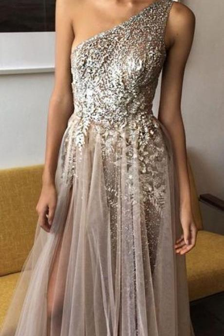 charming party sexy evening homecoming dress charming dress one shoulder evening prom dress sexy beading dress
