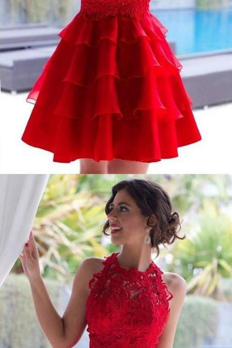 Elegant High Neck Homecoming Dress, appliques halter Homecoming Dress, Short Prom Dress, Illusion Back red Homecoming Dress with red Lace Homecoming Dresses, Homecoming Dress