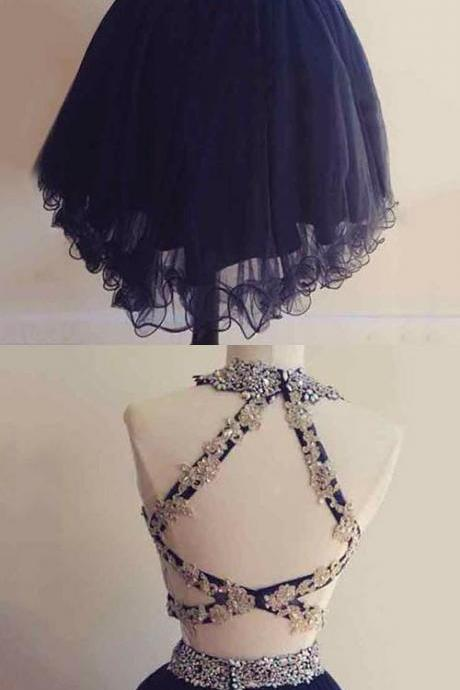 2 piece Homecoming Dresses, 2 pieces Party Gowns,lace Cocktail Dresses, navy blue Prom Dresses,Cheap Formal Dresses