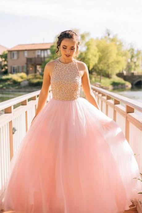 Rhinestone Evening Dresses, Pink A-line/Princess Evening Dresses, Long Pink Prom Dresses, pretty prom dresses A-line Scoop Floor-length Tulle Prom Dress Evening Dress