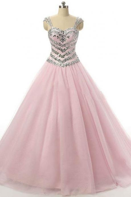 Princess pink tulle sequins beading straps quinseanera long prom dresses,ball gown dresses