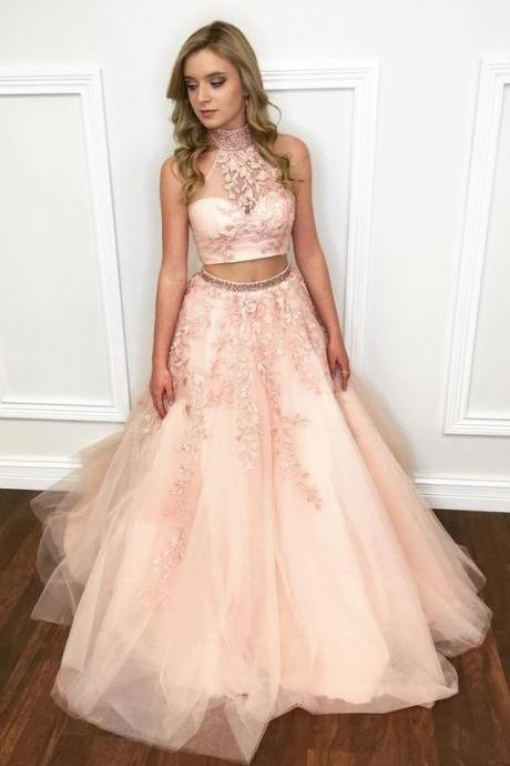Custom Made Pink Two Piece Long A-Line Tulle Prom Dress with Lace Applique