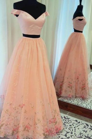 pink Two Piece Off-the-Shoulder Green Prom Dress with Beading Pockets