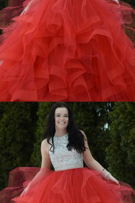 Red beading Two Piece Prom Dress,Formal Evening Dress,Sexy Evening Dress,Sexy Prom Dress