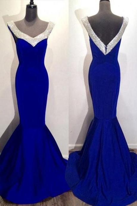 Chic Prom Dresses Royal Blue Trumpet/Mermaid Rhinestone Sexy Prom Dress/Evening Dress