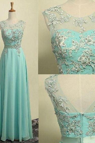 A-line Illusion Neck Sleeveless Appliqued Floor Length Aqua Chiffon Long Bridesmaid Dresses,Prom Dresses