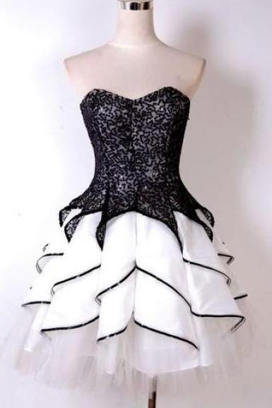 Black strapless Homecoming Dresses,Lace Homecoming Dress