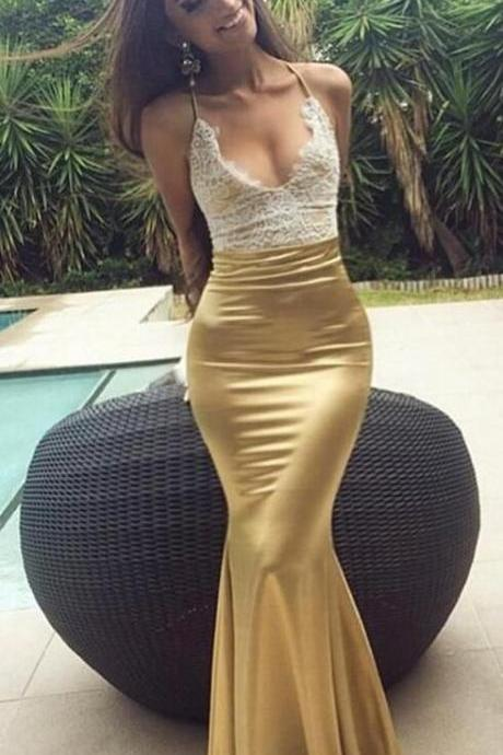Sexy Lace Prom Dress,CHeap Prom Dress,Stain Prom Dress,Mermaid Sleeveless Prom Dress,Sweep-Train Prom Dress evening party dresses