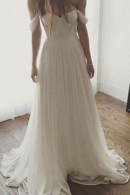Ivory Prom Dresses, Long Prom Dresses, Ivory Chiffon Long Off The Shoulder Wedding Dresses, Simple Long Prom Dress
