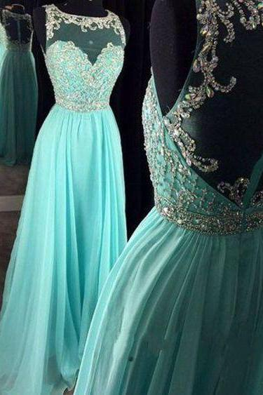 Beading Evening Dress,Chiffon Evening Dress,See Though A Line Formal Dress