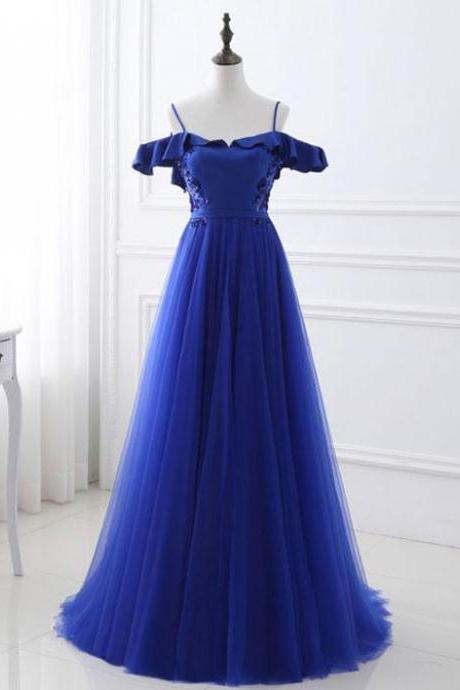 Elegant A-Line Off-The-Shoulder Royal Blue Long Prom/Evening Dress With Appliques