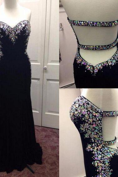 Black Prom Dresses,Backless Prom Dress,Chiffon Prom Dress,Mermaid Prom Dresses, Formal Gown,Open Back Evening Gowns,Open Backs Party Dress,Prom Gown For Teens
