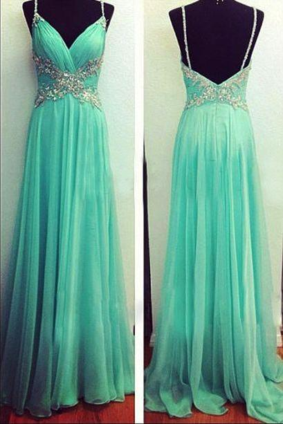 Custom Made Charming Prom Dress,Chiffon Prom Dress,Beading Prom Dress,Spaghetti Straps Prom Dresses, Appliques Prom Dresses,Long Beading Prom Dresses, Cocktail Dresses, formal dresses,Wedding guests dresses