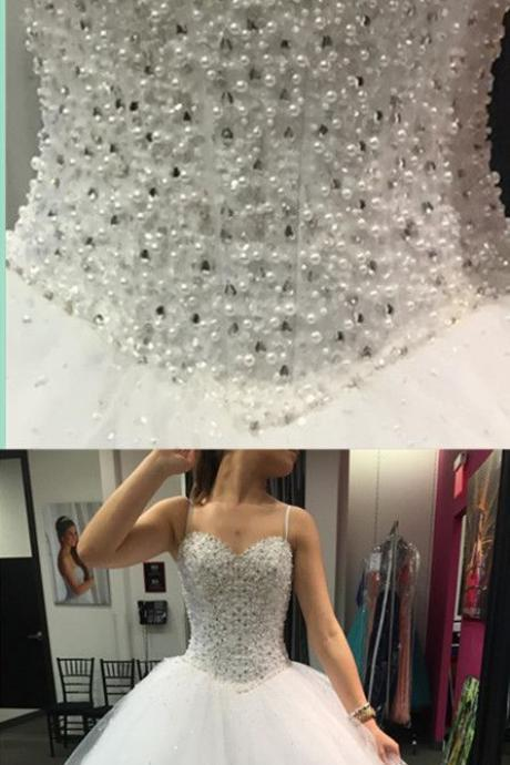 Tulle Ball Gown Wedding Dress,Sparkly Pearls Long Wedding Dresses,White Bridal Dress