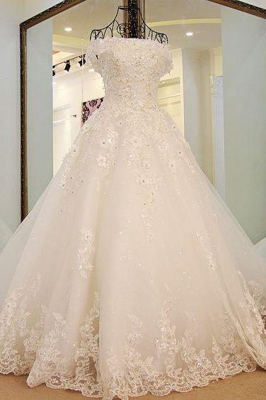 New Arrival Romantic Strapless Tulle Train Sexy Wedding Dresses with Appliques