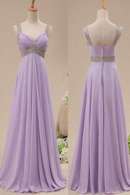 Pretty Lavender Sequins Prom Dresses , Long Prom Gown, Bridesmaid Dresses