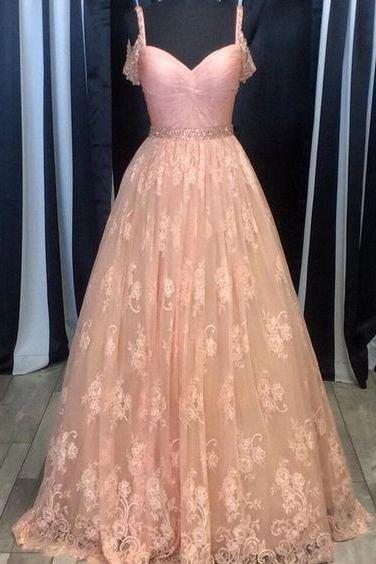 LACE PROM DRESS, A-LINE BEADING PROM DRESS/EVENING DRESS ,elegant dresses, evening dress