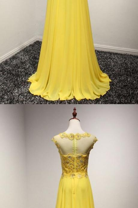 Flowy ,Long Chiffon, Prom Dress In Yellow With Lace ,Beading Top,Floor Length, Prom Dress