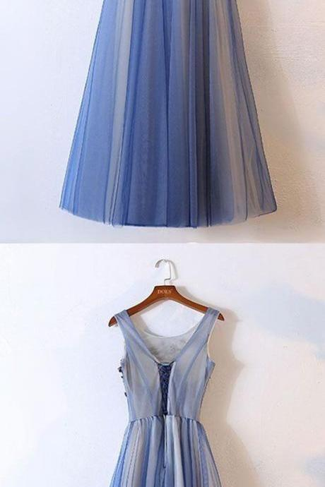 Elegant ,Long Appliques prom dress, Blue Tulle party dress Round Neck Long Evening Dress ,Floor Length Prom Dress