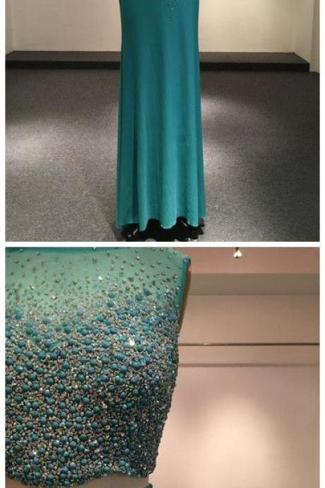Beadings, Two Pieces, Evening Dress, Crystal ,High Neck, Sleeveless, Sage Mermaid ,Formal Dresses ,Evening Gown ,Long Prom Dress,Floor Length, 2018 new fashion ,Prom Dresses