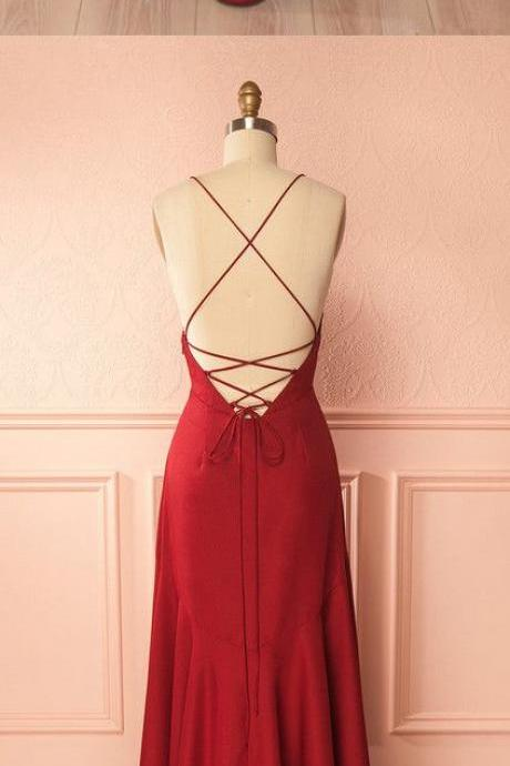 V-Neck ,A-line ,Long Prom Dress, Formal Red Party Dress, Spaghetti Straps ,Crisscross Back Evening Dress ,2018 new fashion ,Prom Dress