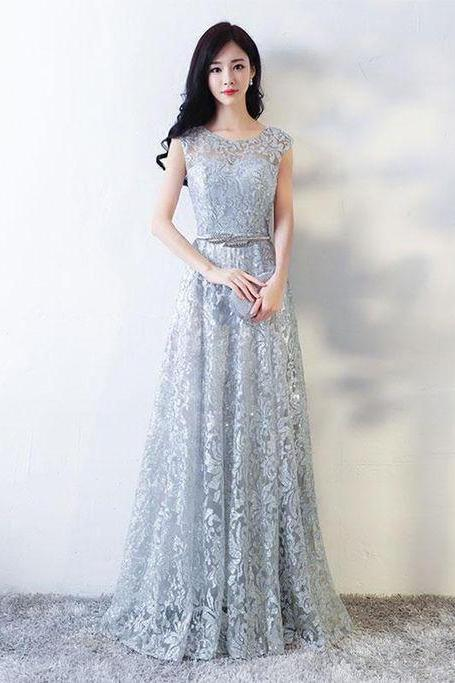 Gray lace tulle ,long prom dresses, lace evening dresses ,2018 new fashion ,Prom Dress