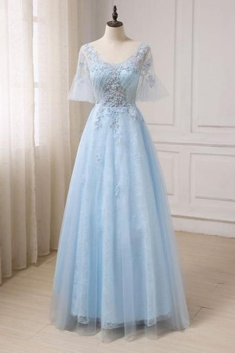 Blue tulle party dress, V neck see through evening dress, long prom dress, long evening dress with sleeves
