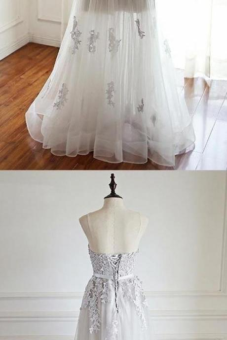 Sweetheart, Floor-Length party dress, Ivory Tulle Prom Dress with Appliques,Grey Evening Dress