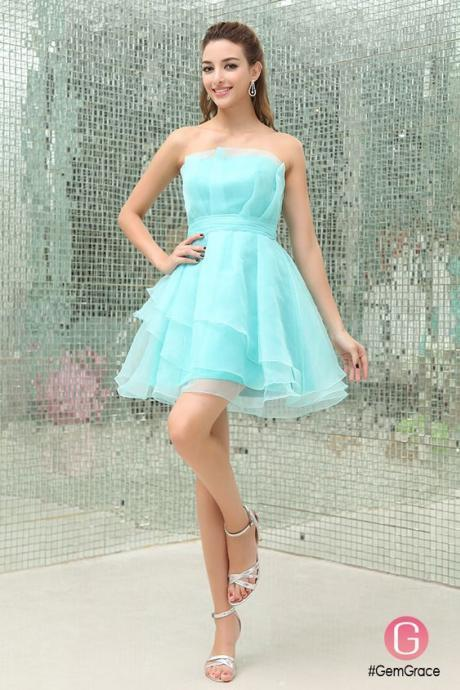 A-line party dress,Strapless prom dress, Short Organza Homecoming Dress