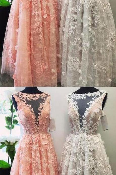 Charming, A-Line Bateau party dress, Lace Long Prom/Evening Dress with Appliques