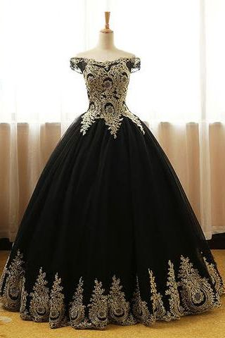 Black Prom Dresses,Appliques Prom Gown,Ball Gown Prom Dress,Long Prom Gown,Formal Evening Dress,Black Quinceanera Dress