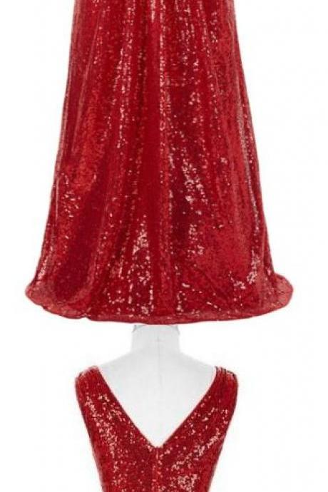 Red Prom Dresses, Long Prom Dresses, Red Sparkly ,V-neck, Long ,A-line ,Backless ,Cheap, Plus Size Prom Dresses