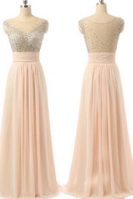 Cheap Pink Prom Dresses, Long Prom Dresses, Long Pink Prom Dresses With Beaded/Beading Floor-length, Round neck , Prom Dress with Appliques , Customize Made
